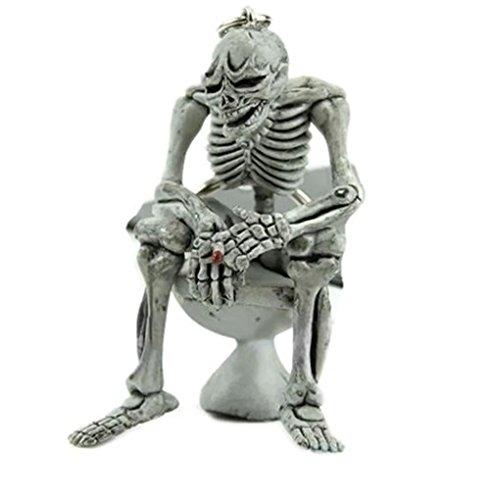 Skeleton on Toilet Commode Pot Key Chain - Ring Commode