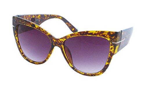 AStyles - Super Oversized Cat Eye Thick Frame Designer Gradient Sunglasses Anoushka (Havanna Brown, Brown)