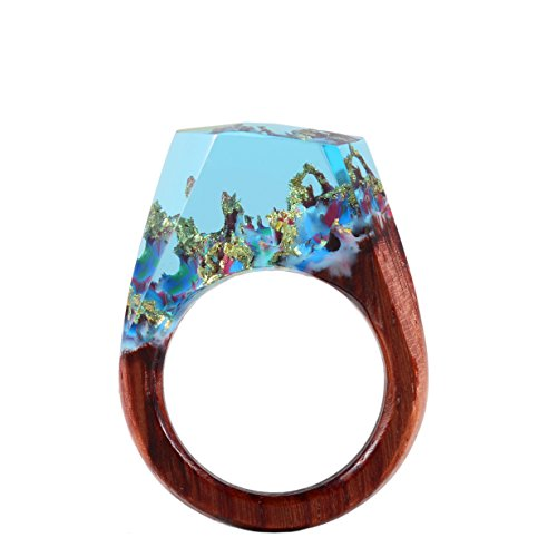 Handmade Wood Resin Rings Jewelry Nature Scenery Landscape Inside Wooden rings for women