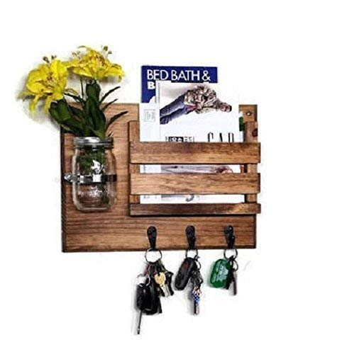 Hamilton Slat Front Mail Organizer with Decorative Mason Jar Vase with Customizable Number of Key Hooks, Available in 20 Colors : Shown in Early American (Shelves Slat Two)