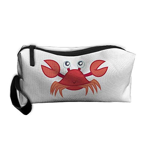 Cosmetic Bags With Zipper Makeup Bag Red Crab Middle Wallet Hangbag Wristlet Holder ()