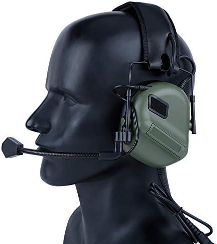 ATAIRSOFT Taktisch Kopfh/örer Milit/ärstandard Schie/ßen Ohrensch/ützer verwendung mit PTT Walkie Talkie Radio Airsoft Taktisch Headset