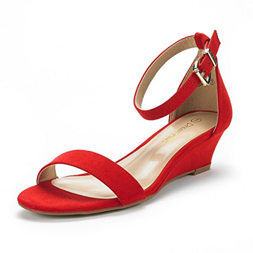 - DREAM PAIRS Women's Ingrid Red Suede Ankle Strap Low Wedge Sandals Size 9 M US