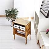 LASUAVY Bamboo Nightstand Stackable Side Table End