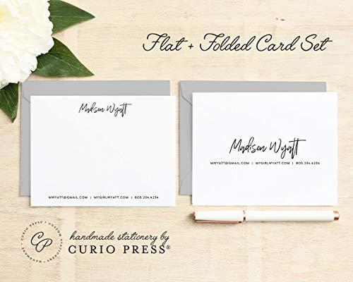 SIGNATURE SET / 2 Piece Set/FOLDED + FLAT // Personalized Notecard Stationery/Stationary Womens and Mens Set