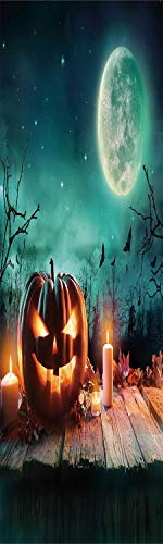 Halloween 3D Decorative Film Privacy Window Film No Glue,Frosted Film Decorative,Fantastic Magic Night Spooky Atmosphere Candles Pumpkin on Wooden Planks Print,for Home&Office,17.7x70.8Inch Multicolor -