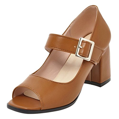 Coolcept Mujer Summer Peep Toe Bombas Zapatos Brown