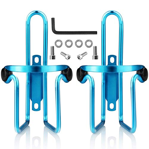 Ibuger Bike Water Bottle Cages, Bike Bicycle Lightweight Aluminum Alloy Bottle Holder Cages for Outdoor Activities (2 Pack) (Blue)