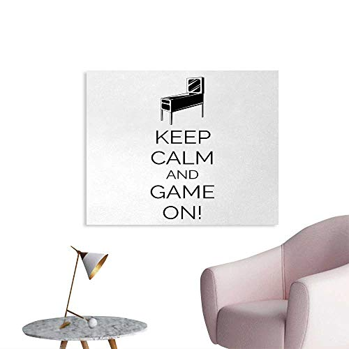 Tudouhoho Keep Calm Cool Poster Pinball Machine Arcade Room Concept Keep Calm and Game On Fun Entertainment Wallpaper Black White W32 xL24 ()
