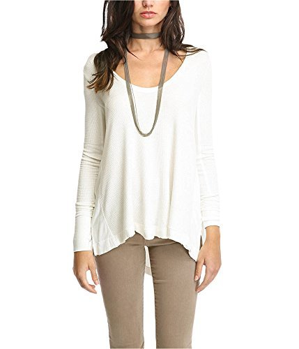 We The Free Womens Hi Low Waffle Knit Pullover Top Ivory M