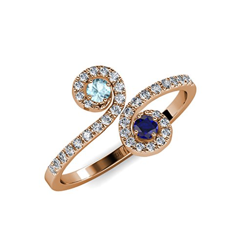 Diamond & Sapphire Bypass Ring - 6