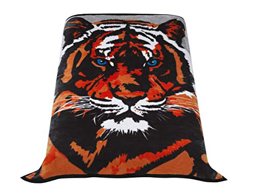 Tiger Mink Blanket - Premium Thick Blanket with Double Layer Reversible Plush Raschel Blanket Tiger Printed - Supersoft, Warm, Silky, Hypoallergenic, Fade Resistant in Queen Size (79