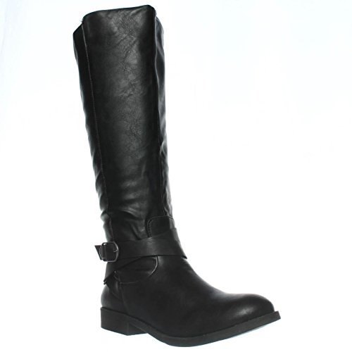 - Style & Co. Womens Madixe Round Toe Mid-Calf Riding Boots, Black, Size 6.0