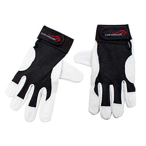 (SAFE HANDLER Keystone Reinforced Gloves with Reinforced Double Palm Protection | Breathable, Stretch Fabric Backing, Secure Hook & Loop Closure, Reinforced Double Palm Goat Leather, L/XL, 1 Pair)