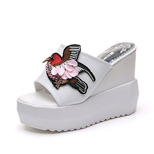 WHLShoes Sandalias Y Chanclas Para Mujer Plataforma Impermeable Sandalias Verano Plataforma Gruesa Pendiente Muffins Casual Tacón Alto De Comodidad Wild white