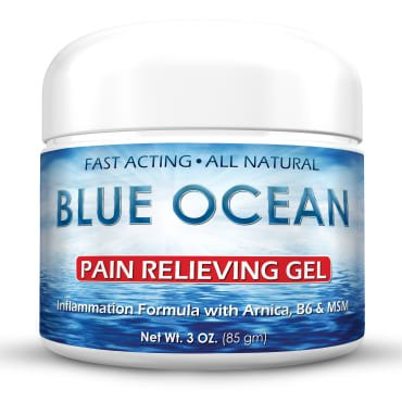Blue Ocean Pain Relief Cream- 3 Oz. Arnica Gel- Fast Acting, Cooling,Topical Analgesic for Back Pain, Arthritis & Neck Pain. Natural Pain Relief for Muscles, Joints & Bruises. FDA Approved-Made in USA