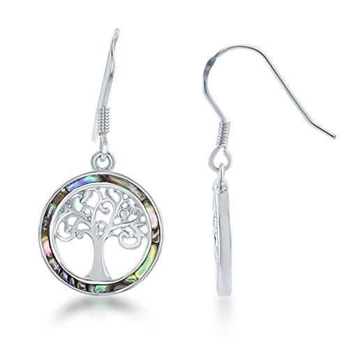 Beaux Bijoux Sterling Silver Abalone Tree of Life Circle Earrings -