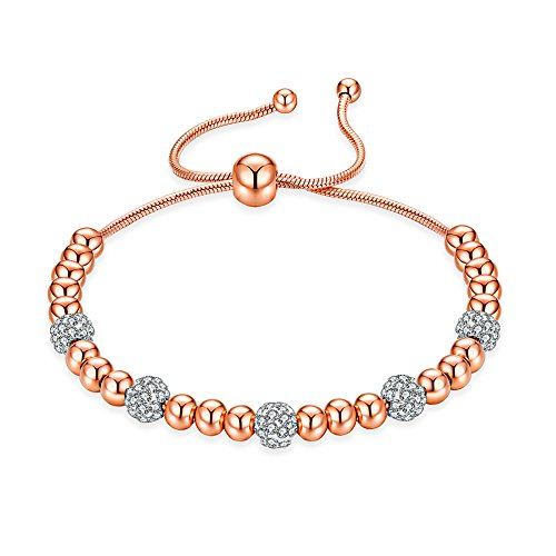- ROBERT MATTHEW Prime Amazon Day Olivia 18k Rose Gold Charm Bracelet, Rose Gold Charm Bracelet for Women, Beaded Bracelet w/Cubic Zirconia, Bead Bracelet for Girls, Womens Rose Gold Bracelet, MSRP $98