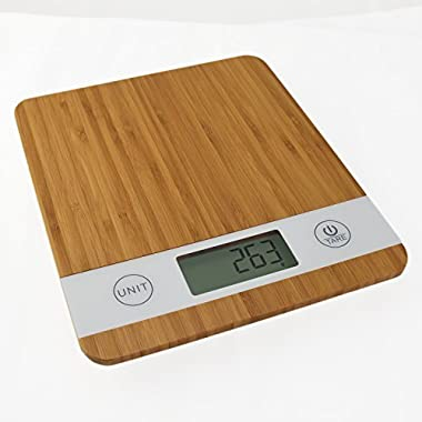 Digital Smart Weigh Multifunction Kitchen Food Scale, 11lb 5kg Capacity, Bamboo (Batteries Included)