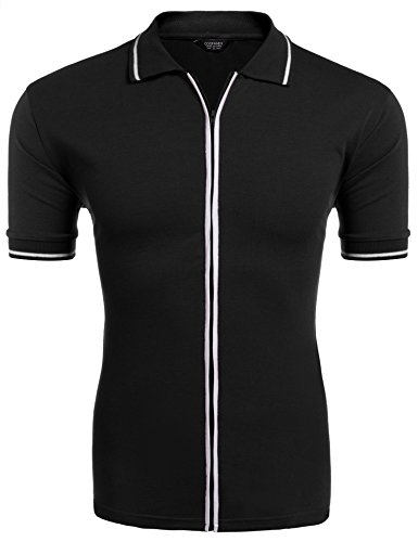 COOFANDY Mens Full Zip Polo Shirt Slim Fit Casual Cotton Contrast T Shirts Black