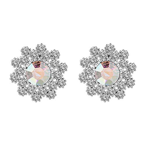 Clip Rhinestone Flower Earrings - Yoursfs Rhinestone Clip On Flower Earrings for Bridal 18K White Gold Plated Snowflake Earrings