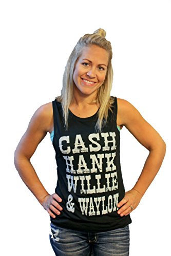 Womens Shirt CASH HANK WILLIE & WAYLON MUSCLE TANK with graphic print by Tough Little Lady; (Blk MUS MD)