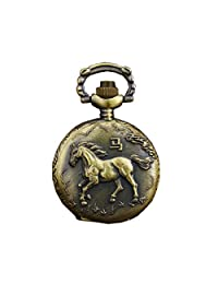 Zodiac Engraved Pocket Watch with Chain Antique Fob Watch For Man and Women