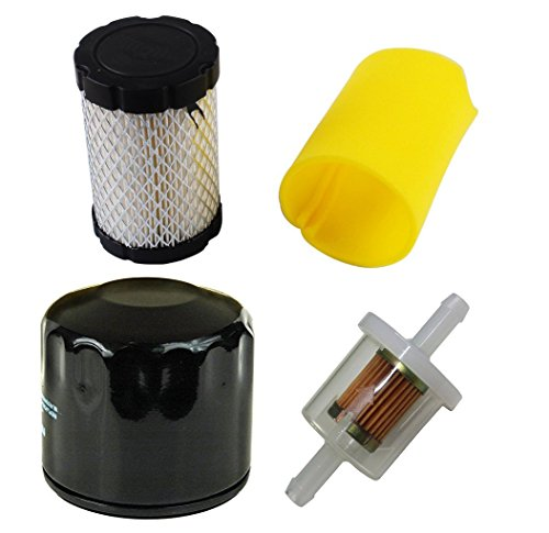 Podoy 492932 696854 Oil Filter for Briggs & Stratton 691035 Fuel Filter AM125424 with 796031 Air & Pre Filter Kit 492932S 695396 696854