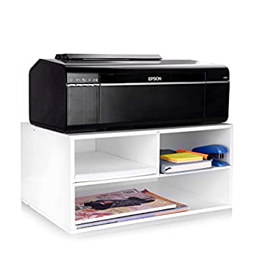 eMerit Wood Two-Tier Printer Fax Stands Shelf Riser Paper Organizer for Home Office