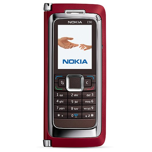 Nokia E90 Communicator Unlocked Phone with 3.2 MP Camera, 3G, Wi-Fi, GPS, Media Player, and MicroSD Slot-International Version with Warranty (Red)