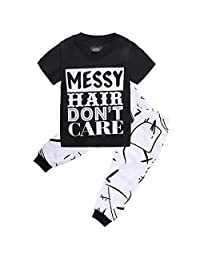 Little Girls Short Sleeve Letters Print T-shirt and Pants Outfits (4T(4-5Y))