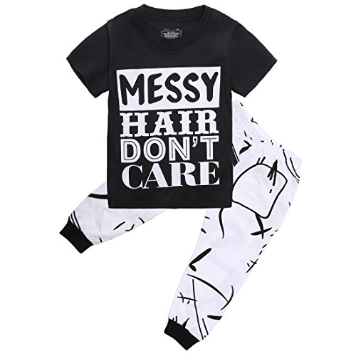 Little Girls Short Sleeve Messy Hair Don't Care Letters Print T-Shirt and Pants Outfit Summer(5T,Black) by Canis