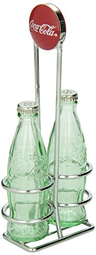 TableCraft Coca-Cola CC339N Salt and Pepper Shaker Set with Chrome Plated Metal Rack (Vintage Kitchen Collectibles)