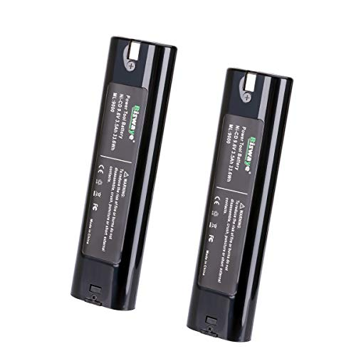 Biswaye 2 Pack 3500mAh 9.6V B9000 Replacement Battery for Makita 9.6-Volt Tools Stick Style Battery 9000 9001 9002 9033 9600 191681-2 -