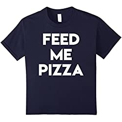 Kids Feed Me Pizza T-Shirt Pizza Lovers Tee 8 Navy