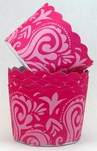 1 X Damask Cupcake Cups - Pink