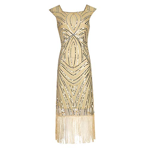 Clearance Renaissance Dress,Forthery Women 1920s Gastby Sequin Art Nouveau Embellished Fringed Flapper Dress(Gold,XL)]()