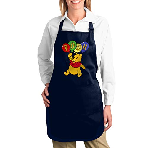 TDFJKxcv Winnie The Pooh Colorful Balloons Cooking Apron with 2 Tool Pockets Adjustable Kitchen Chef Bib for Men & Women