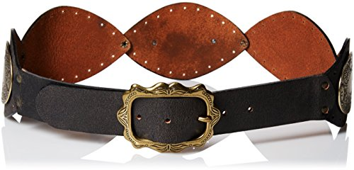 belgo-lux-womens-bombardier-leather-concho-waist-belt-espresso-small
