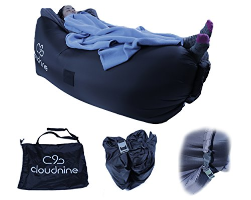 Inflatable Lounger Air Sofa Hammock - Portable, Water-proof Couch for Pool Party, Camping - Perfect for Beach, Picnic & Music Fest by Cloudnine (Black)