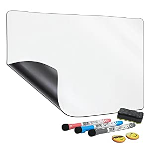 "NEFBENLI A4 Soft Whiteboard 11.8""X 8.3"" Fridge Magnet Dry-Erase Board Flexible PET Film Magnetic Message Board Refrigerator Notes,Includes 1 Board, 2 Magnets, and 3 Marker,1 Eraser (A4:11.8""X 8.3"")"