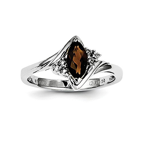 925 Sterling Silver Marquise Cut Smoky Quartz and Diamond Engagement Ring, 0.54 Cttw ()