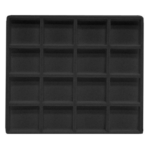 Black Flocked Tray Inserts (5 Black 16 Slot 1/2 Size Jewerly Display Tray Insert by 888 Display 1 Pack (5 Pcs))