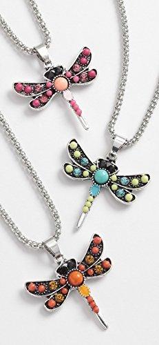 Talbot Fashion Beaded dragonfly pendant on long chain, 3 colours ~ 1 Chosen At Random