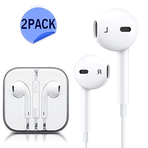 JNDDF Premium earbuds Stereo Headphones [2 Pack] Noise Isolating headset Control for iPhone iPod iPad Samsung Galaxy S7 S8 and Android Phones (WHITE) (white)