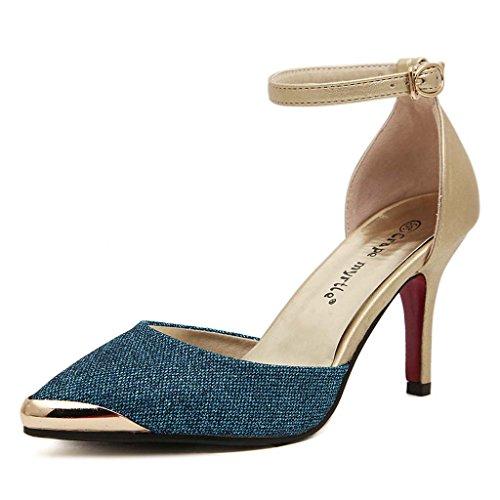 SHEO sandalias de tacón alto Los tacones altos de las mujeres señalaron la boca baja hueco de la hebilla con los zapatos de tacón alto del color de la lucha Azul