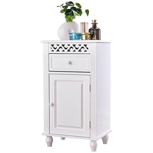 Giantex Storage Floor Cabinet W/One Cabinet Two-Layer Adjustable Shelves & One Drawer Wood Bathroom Cupboard Organizer Kitchen Collection Cabinet Shelf Nightstand Beside End Table White (1 Drawer) Pine Solid Pine Cupboard