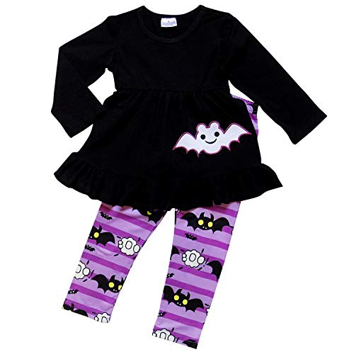 So Sydney Girls Halloween Pumpkin, Candy, or Cat - 2 Piece Ruffle Pants Outfit (S (3T), Purple Bat) -