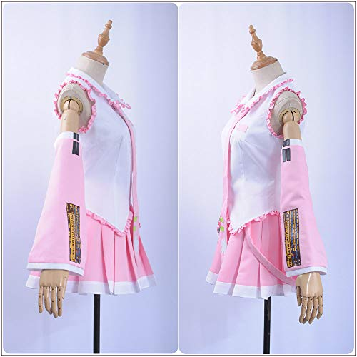 Cos-Animefly Vocaloid Hatsune Miku Cosplay Costume Women Adult Halloween Holiday Full Set Anime Uniform Pink Dress