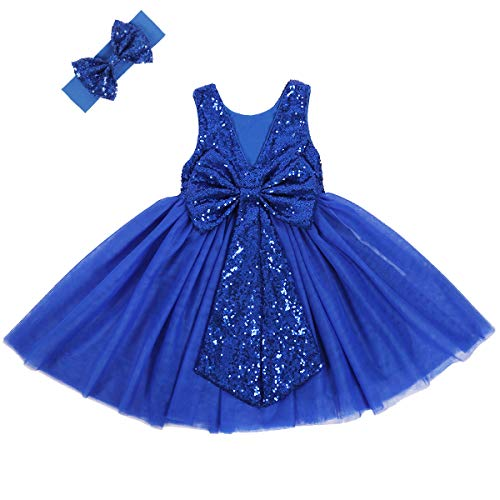 Cilucu Flower Girl Dress Baby Toddlers Sequin Dress Tutu Kids Party Dress Bridesmaid Wedding Gown Birthday Dress Royal Blue 6T-7years (Questions To Ask A 8 Year Old)